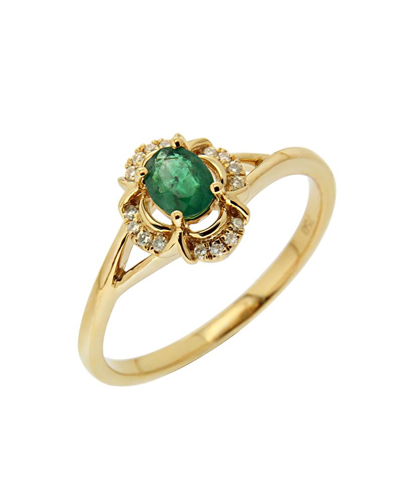 Δαχτυλίδι χρυσό Κ18 με Σμαράγδι και Διαμάντια
