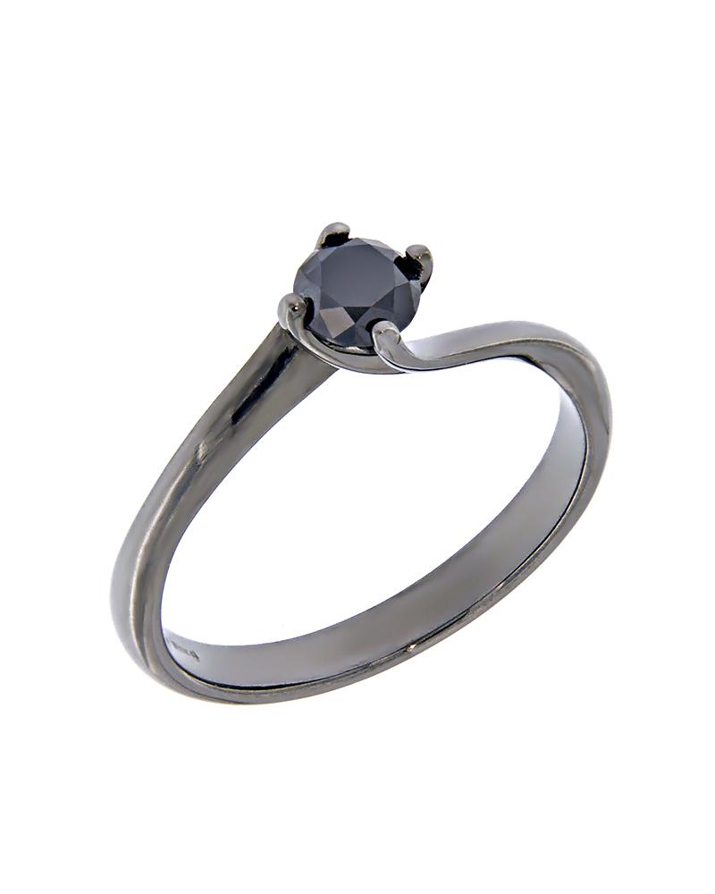 Δαχτυλίδι μονόπετρο λευκόχρυσο Κ18 με μαύρο Διαμάντι