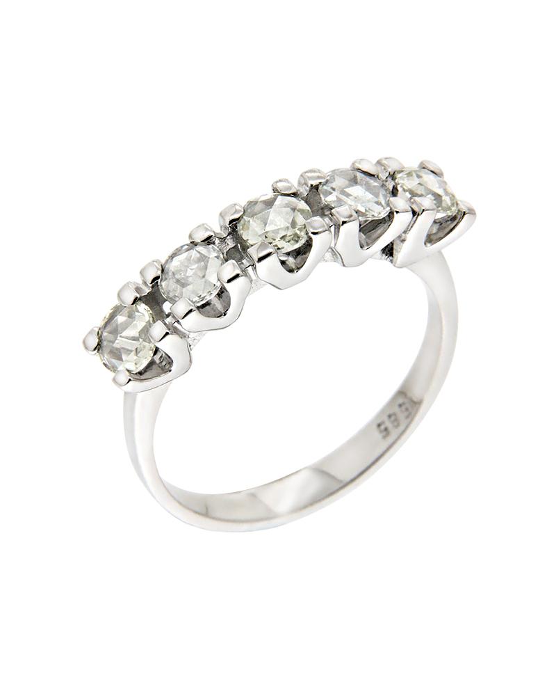 Δαχτυλίδι σειρέ λευκόχρυσο Κ14 με Διαμάντια