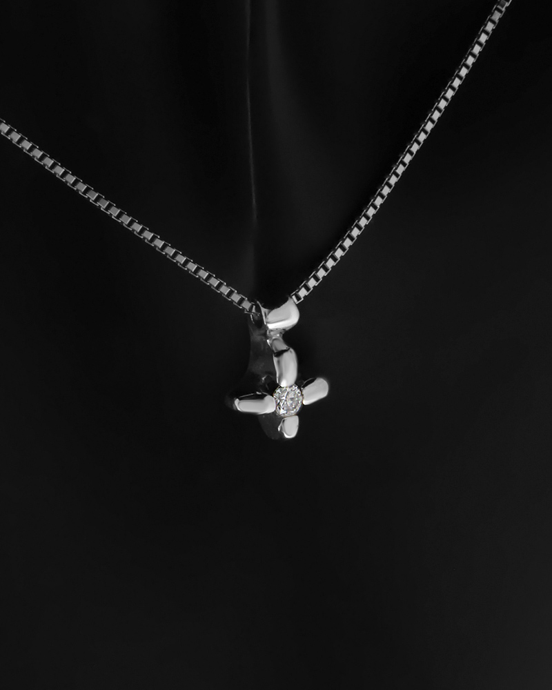 Κολιέ σταυρός λευκόχρυσο Κ18 με Διαμάντι   γυναικα σταυροί σταυροί λευκόχρυσοι