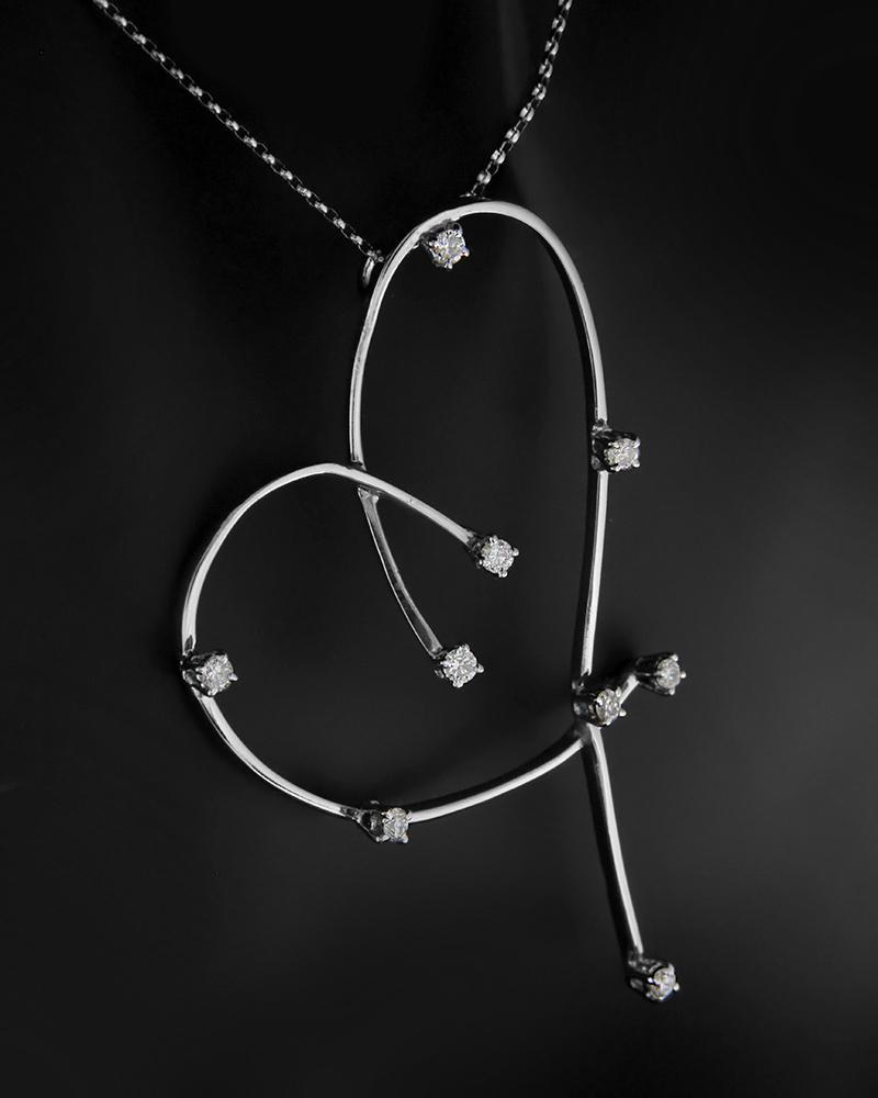 Κολιέ καρδιά λευκόχρυσο Κ18 με Διαμάντια   γυναικα κρεμαστά κολιέ κρεμαστά κολιέ λευκόχρυσα