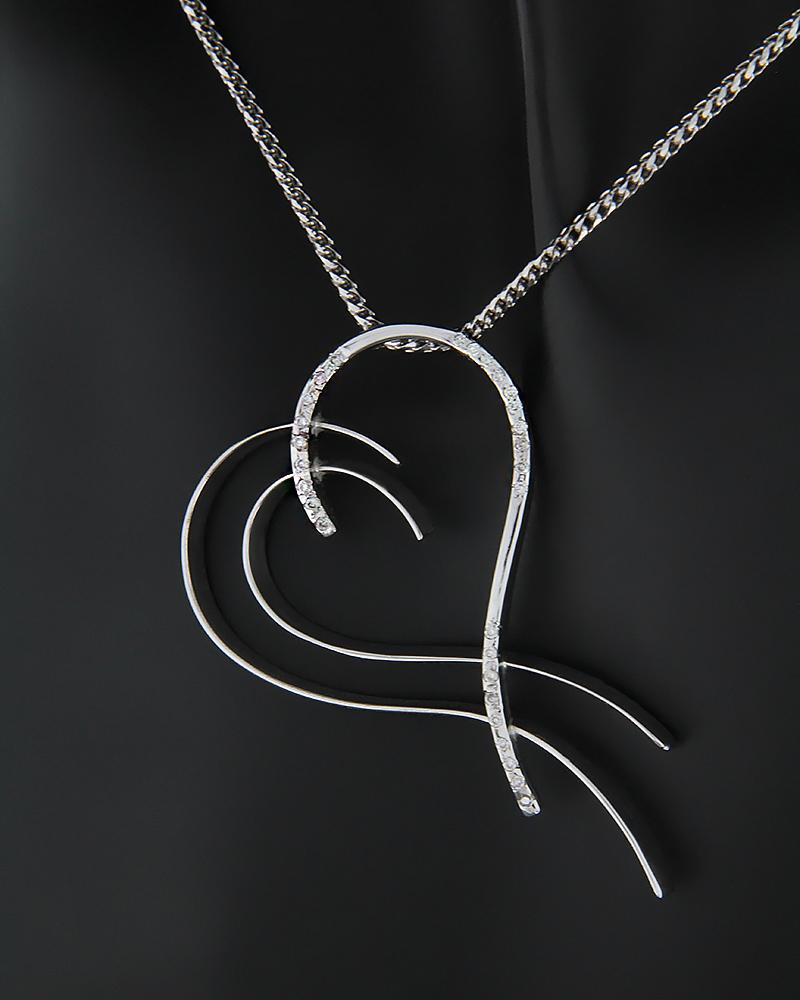 Κολιέ καρδιά λευκόχρυσο Κ18 με Διαμάντια   κοσμηματα κοσμήματα με καρδιές
