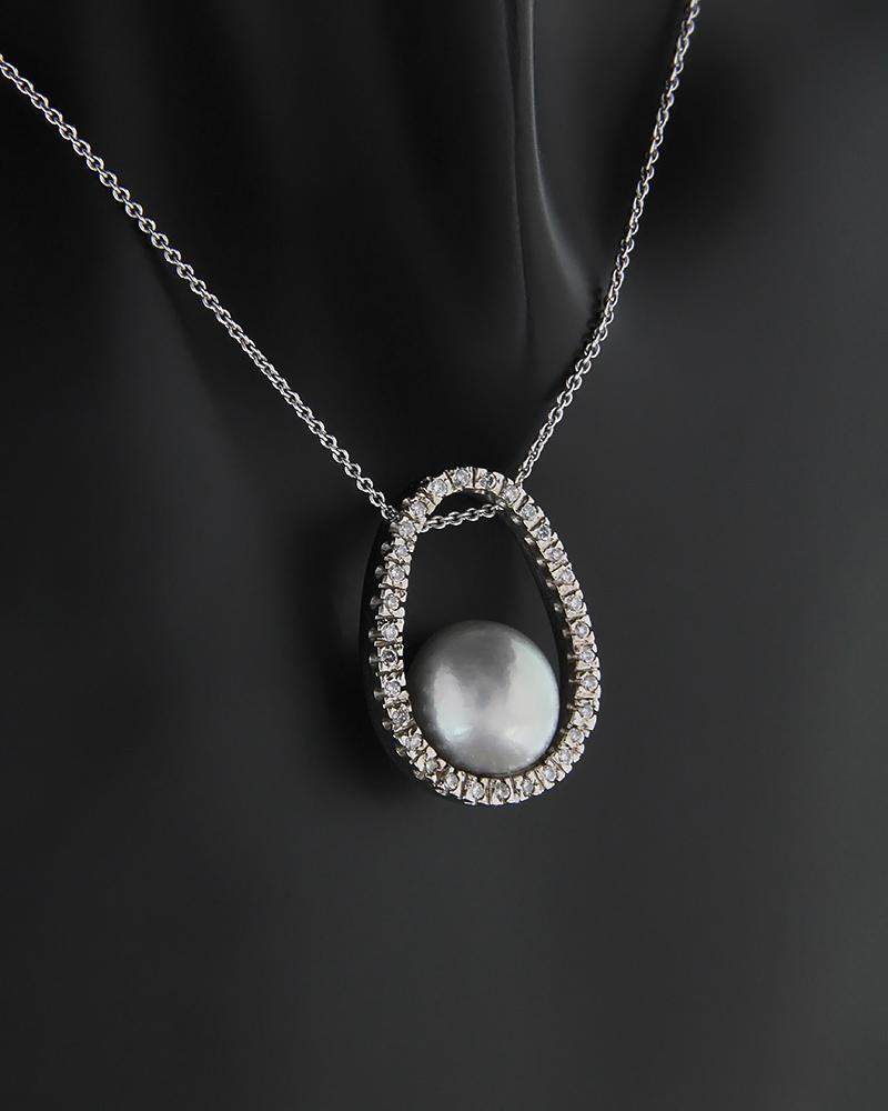 Κολιέ λευκόχρυσο Κ18 με Διαμάντια και Μαργαριτάρι