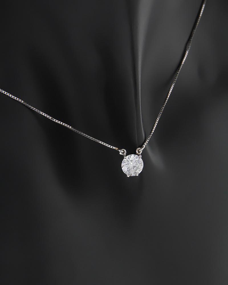 Κολιέ μονόπετρο λευκόχρυσο Κ18 με Διαμάντι   γυναικα κρεμαστά κολιέ κρεμαστά κολιέ λευκόχρυσα