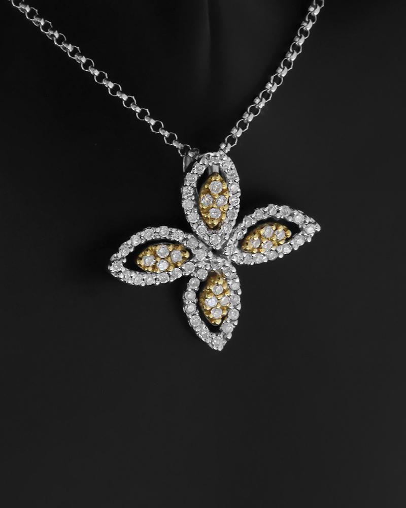 Κολιέ σταυρός χρυσό και λευκόχρυσο Κ18 με Διαμάντια   γυναικα σταυροί σταυροί λευκόχρυσοι
