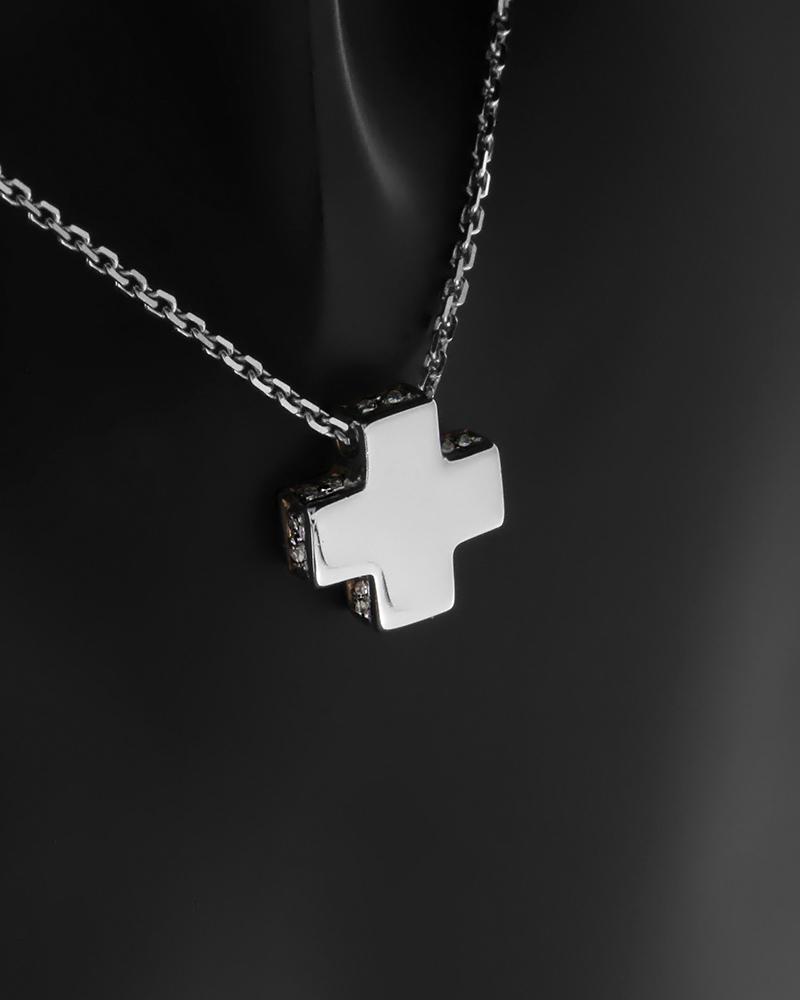 Κολιέ σταυρός ροζ χρυσό και λευκόχρυσο Κ18 με Διαμάντια   γυναικα σταυροί σταυροί λευκόχρυσοι