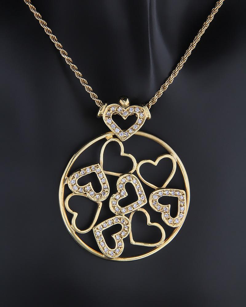 Κολιέ καρδιές χρυσό Κ18 με Διαμάντια