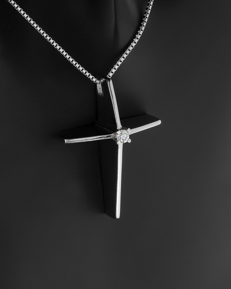 Κολιέ σταυρός λευκόχρυσο Κ18 με Διαμάντι