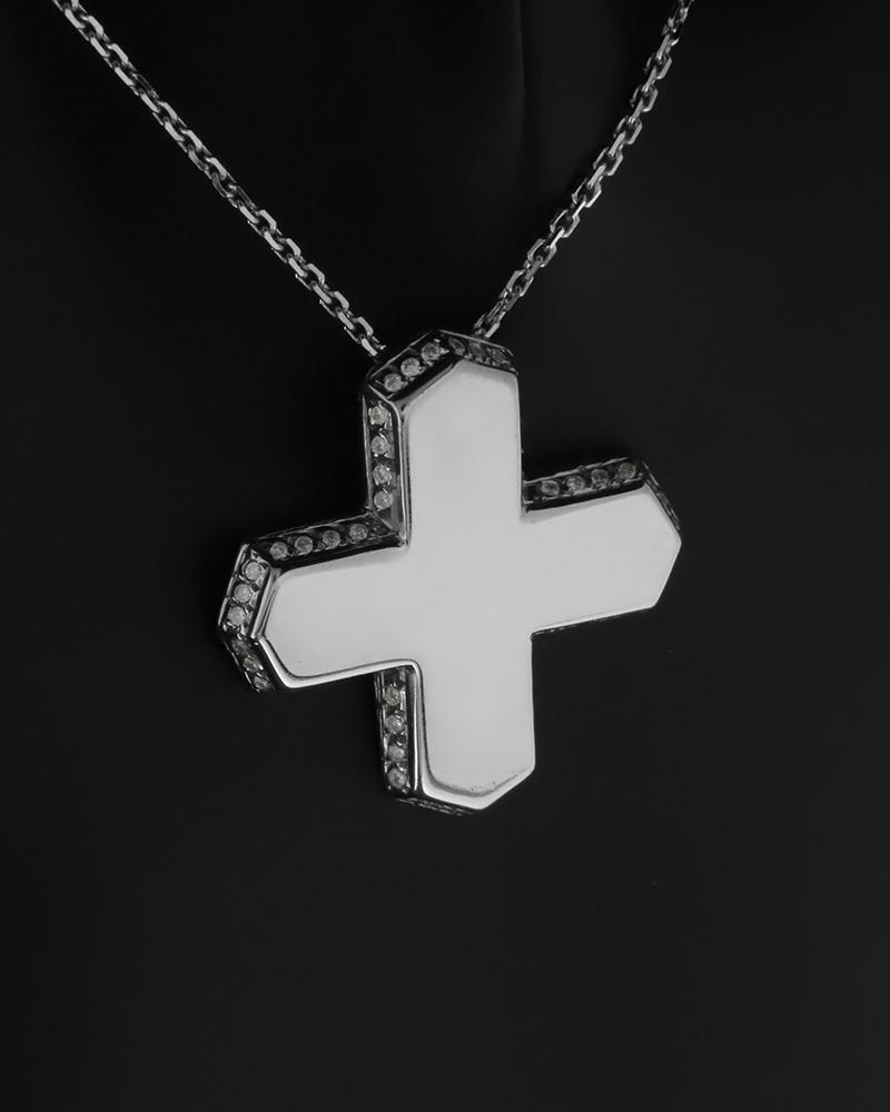 Κομψό κολιέ σταυρός από λευκόχρυσο Κ18 με διαμάντια.   γυναικα σταυροί σταυροί λευκόχρυσοι