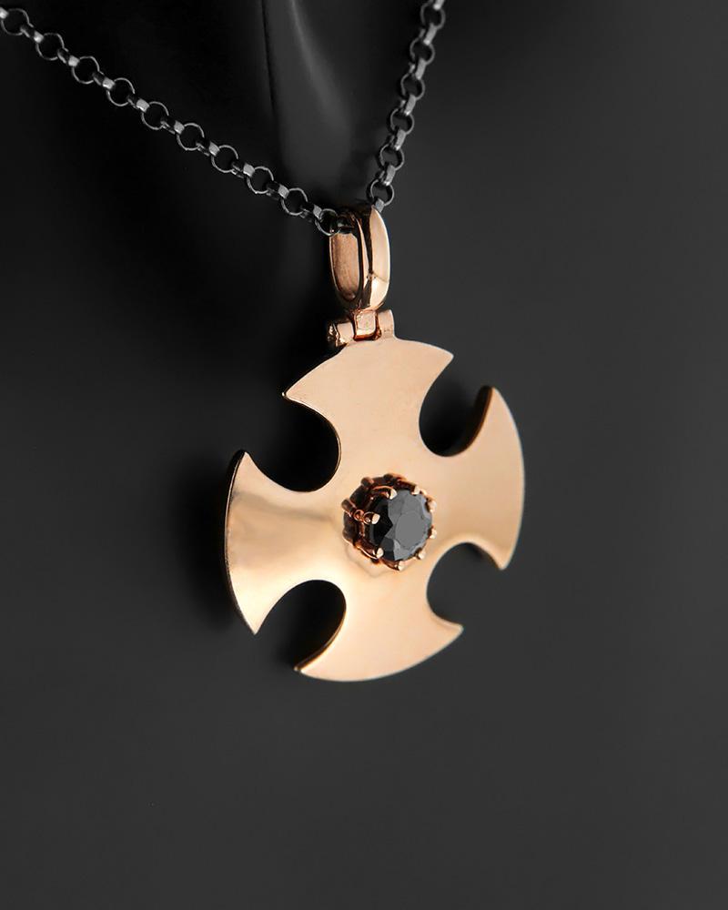 Κολιέ σταυρός ροζ χρυσό Κ9 με μαύρο Διαμάντι