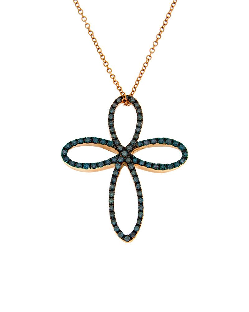 Κολιέ σταυρός ροζ χρυσό Κ18 με μπλε Διαμάντια