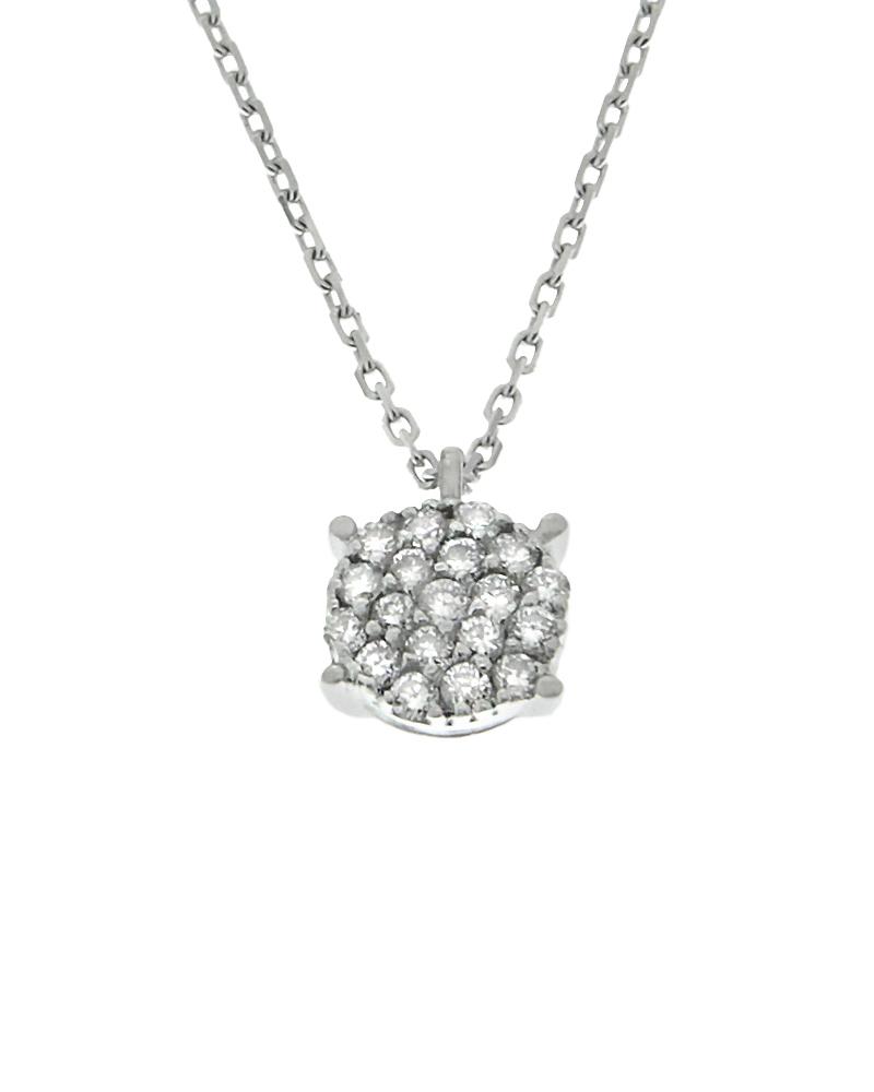 Κολιέ λευκόχρυσο Κ18 με Διαμάντια