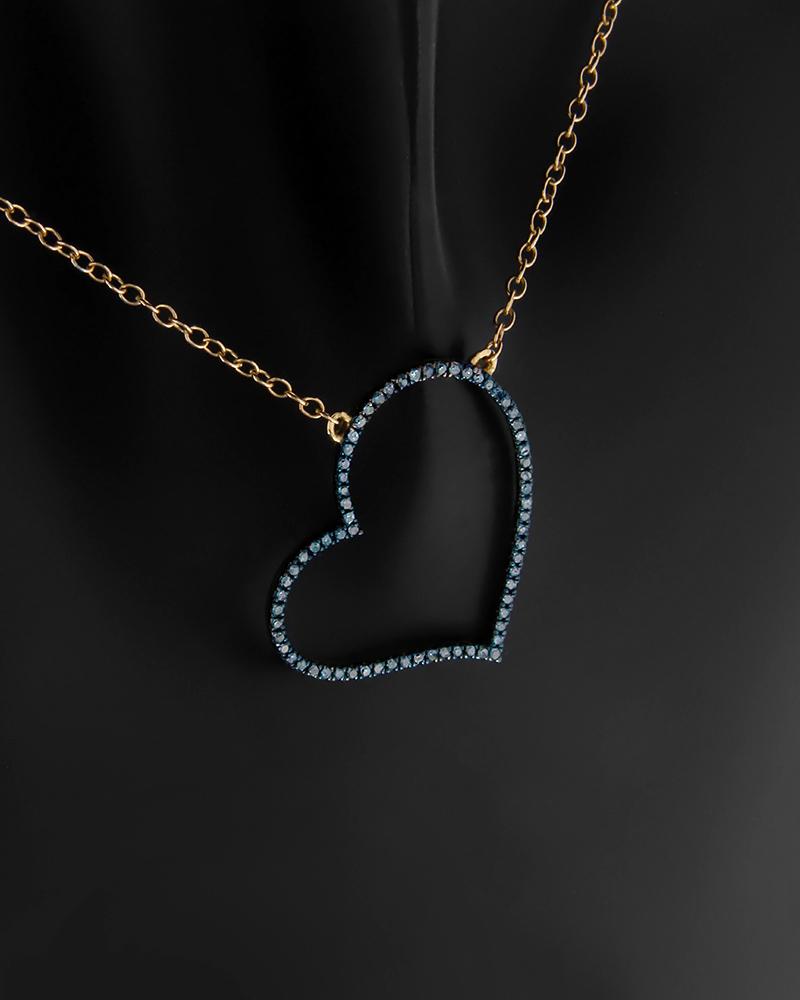 Κολιέ καρδιά χρυσό Κ18 με Διαμάντια   γυναικα κρεμαστά κολιέ κρεμαστά κολιέ διαμάντια