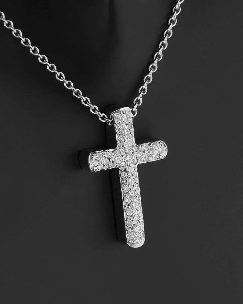 Κολιέ σταυρός λευκόχρυσο Κ18 με Διαμάντια