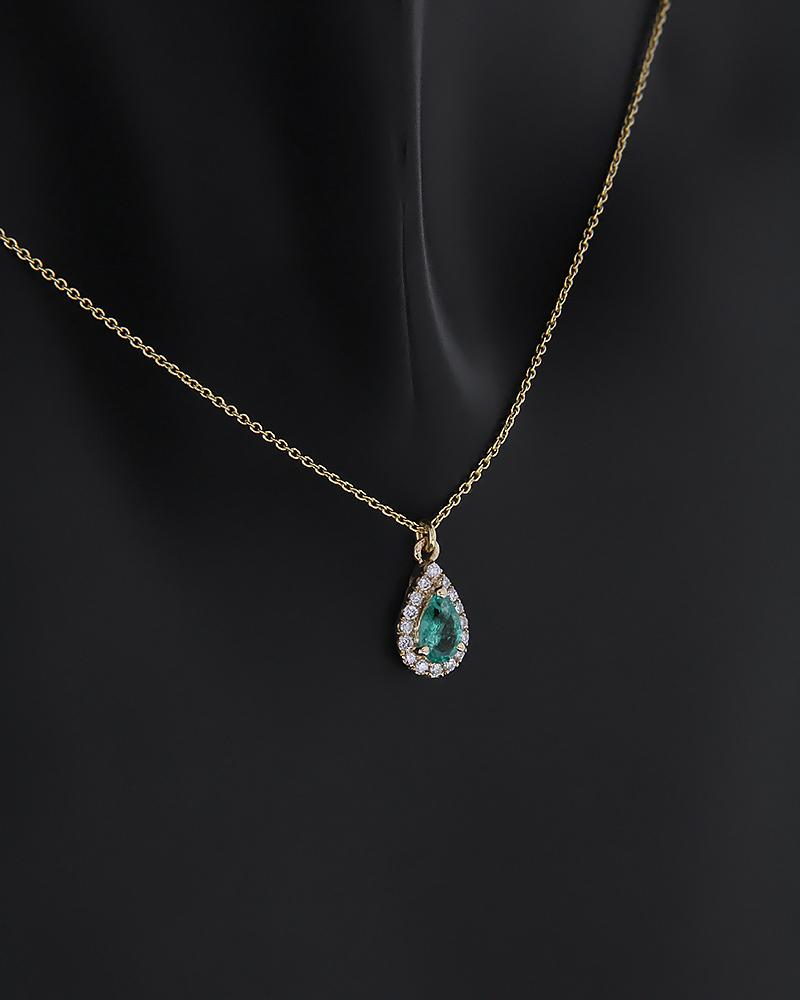 Κολιέ χρυσό Κ18 με Διαμάντια και Σμαράγδι   κοσμηματα κρεμαστά κολιέ κρεμαστά κολιέ διαμάντια