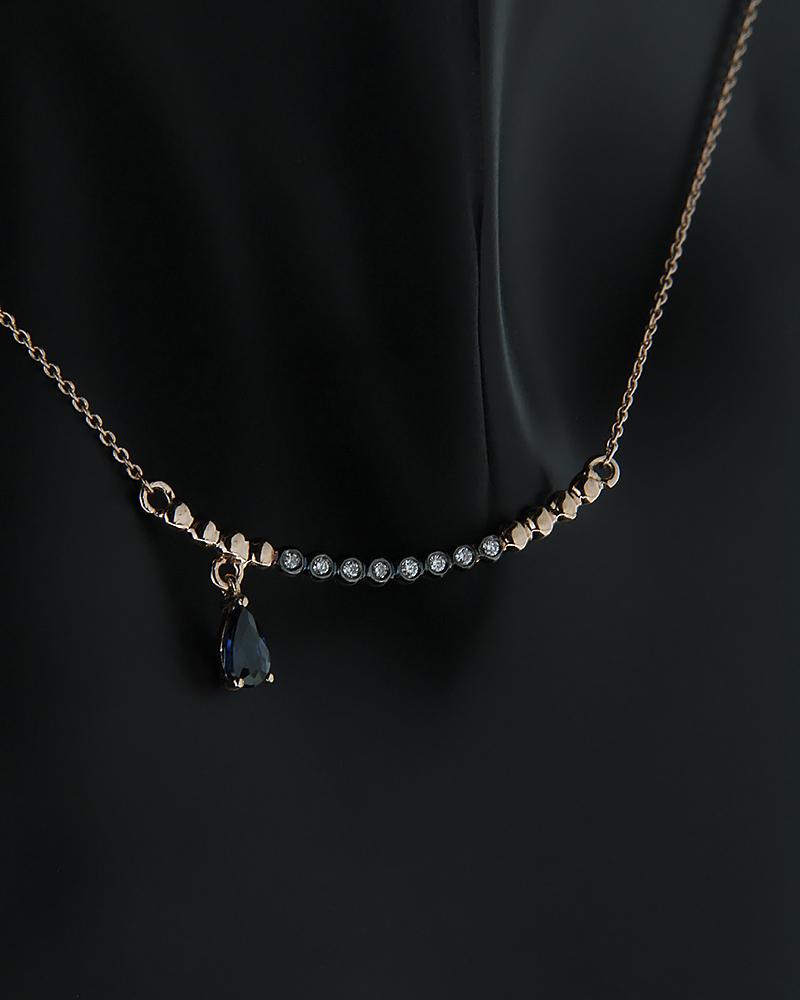 Κολιέ ροζ χρυσό Κ18 με Διαμάντια και Ζαφείρι   κοσμηματα κρεμαστά κολιέ κρεμαστά κολιέ διαμάντια