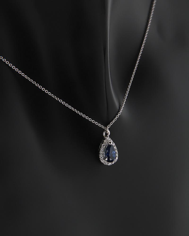 Κολιέ λευκόχρυσο Κ18 με Διαμάντια και Ζαφείρι   κοσμηματα κρεμαστά κολιέ κρεμαστά κολιέ διαμάντια