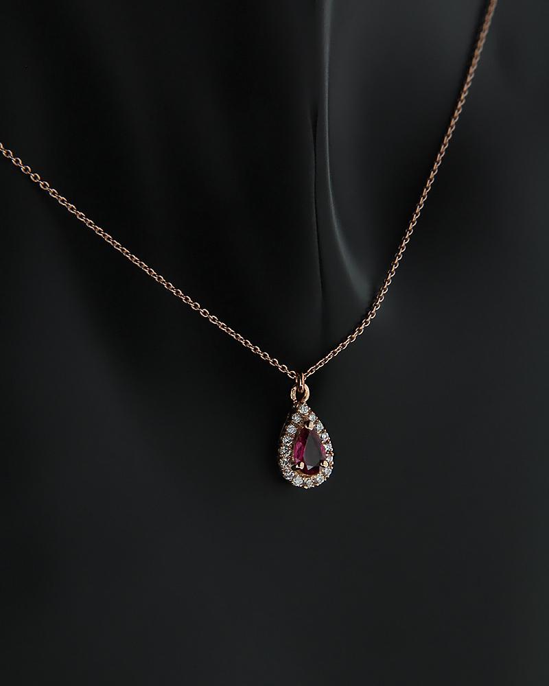 Κολιέ ροζ χρυσό Κ18 με Διαμάντια και Ρουμπίνι   κοσμηματα κρεμαστά κολιέ κρεμαστά κολιέ διαμάντια
