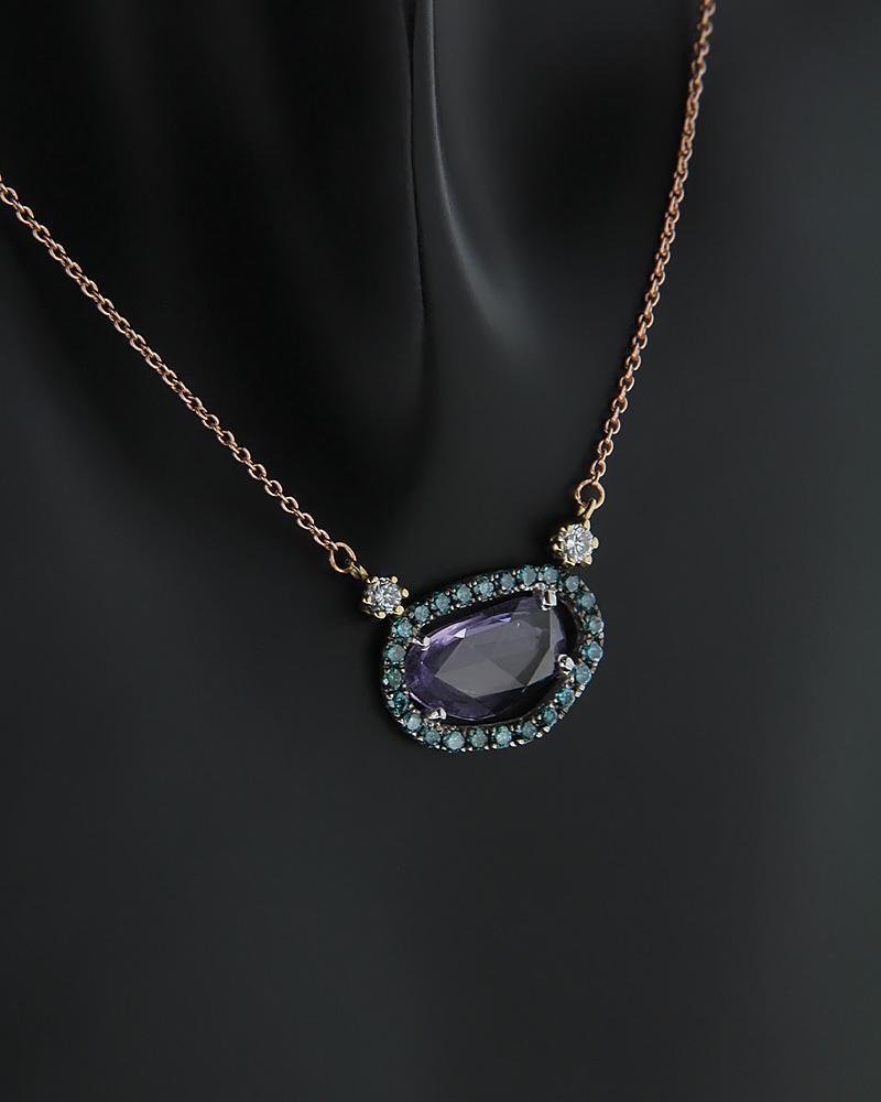 Κολιέ ροζ χρυσό Κ18 με Διαμάντια και Αμέθυστο   κοσμηματα κρεμαστά κολιέ κρεμαστά κολιέ διαμάντια