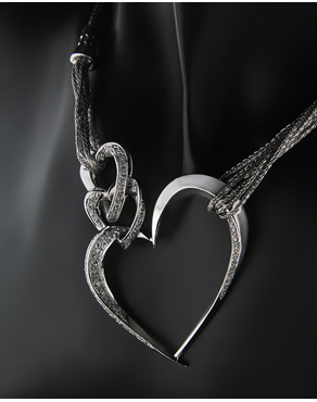 cdbfe1ce81 Κολιέ καρδιές λευκόχρυσο Κ18 με Διαμάντια