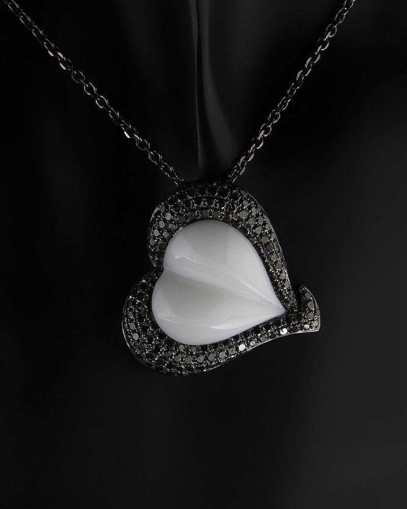 Κολιέ καρδιά λευκόχρυσο Κ18 με μαύρα Διαμάντια   γυναικα κρεμαστά κολιέ κρεμαστά κολιέ καρδιές