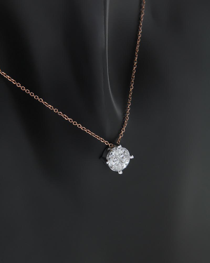 Κολιέ ροζ χρυσό και λευκόχρυσο Κ14 με Διαμάντι   νεεσ αφιξεισ κοσμήματα γυναικεία
