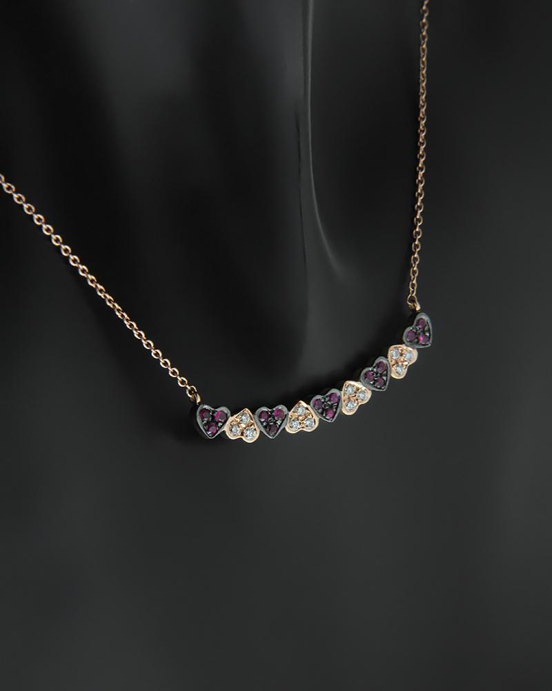 Κολιέ καρδιές ροζ χρυσό Κ18 με Διαμάντια και Ρουμπίνια   γυναικα κρεμαστά κολιέ κρεμαστά κολιέ διαμάντια