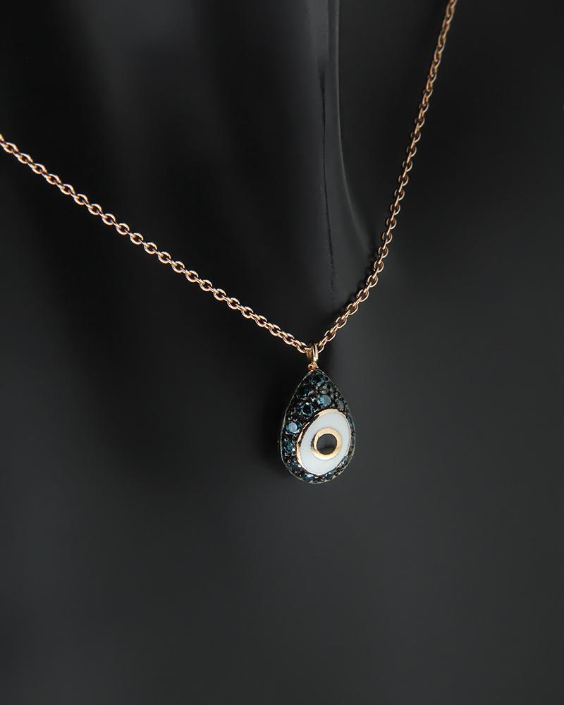 Κολιέ ροζ χρυσό Κ18 με Διαμάντια   νεεσ αφιξεισ κοσμήματα γυναικεία