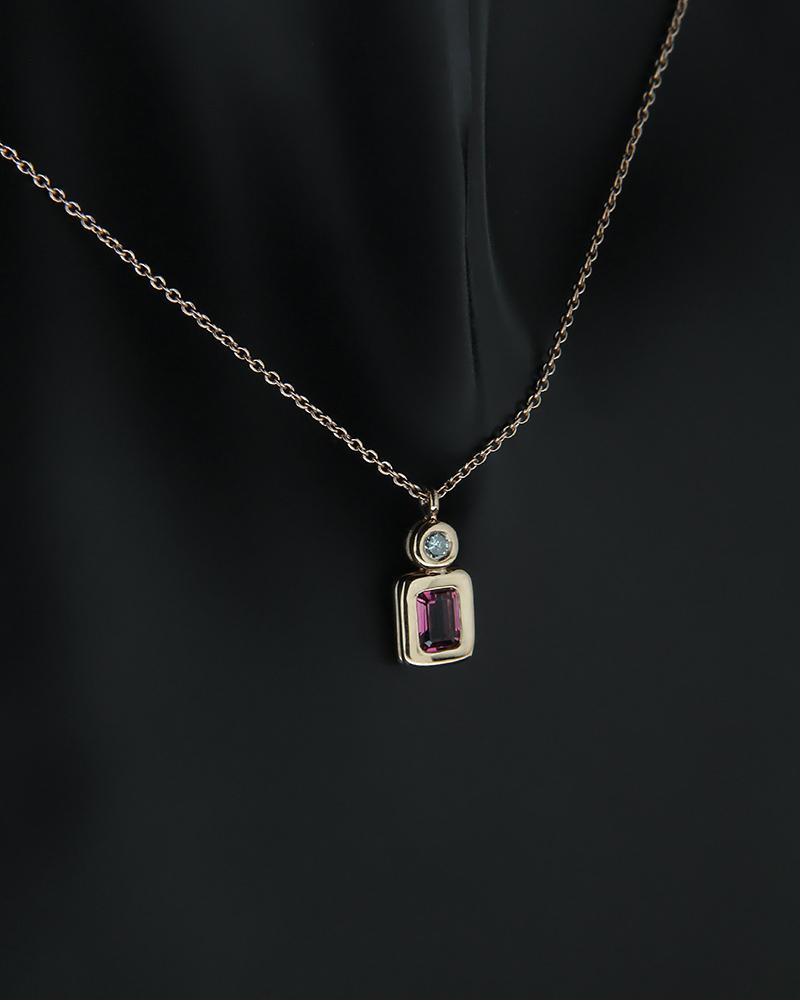 Κολιέ ροζ χρυσό Κ18 με Διαμάντι και Τουρμαλίνη   νεεσ αφιξεισ κοσμήματα γυναικεία