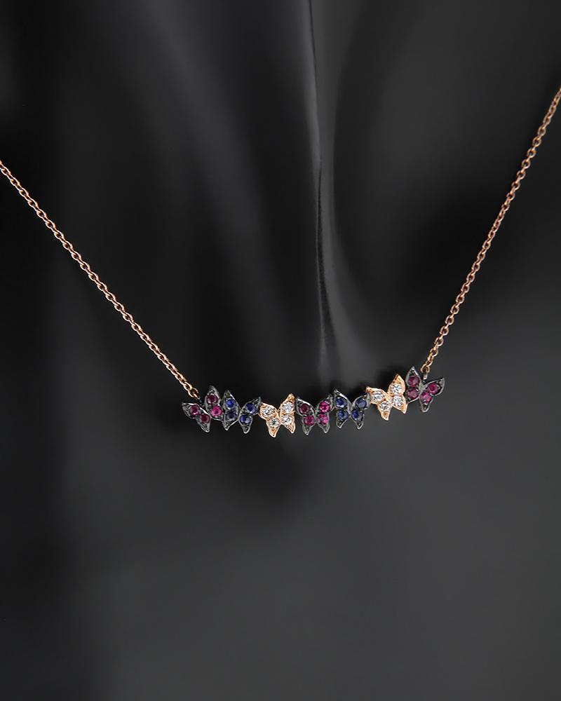 Κολιέ ροζ χρυσό Κ18 με Διαμάντια Ρουμπίνια και Ζαφείρια   νεεσ αφιξεισ κοσμήματα γυναικεία