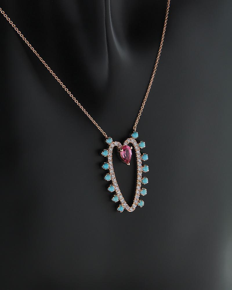 Κολιέ καρδιά ροζ χρυσό Κ18 με Διαμάντια και ροζ quartz   γυναικα κρεμαστά κολιέ κρεμαστά κολιέ διαμάντια