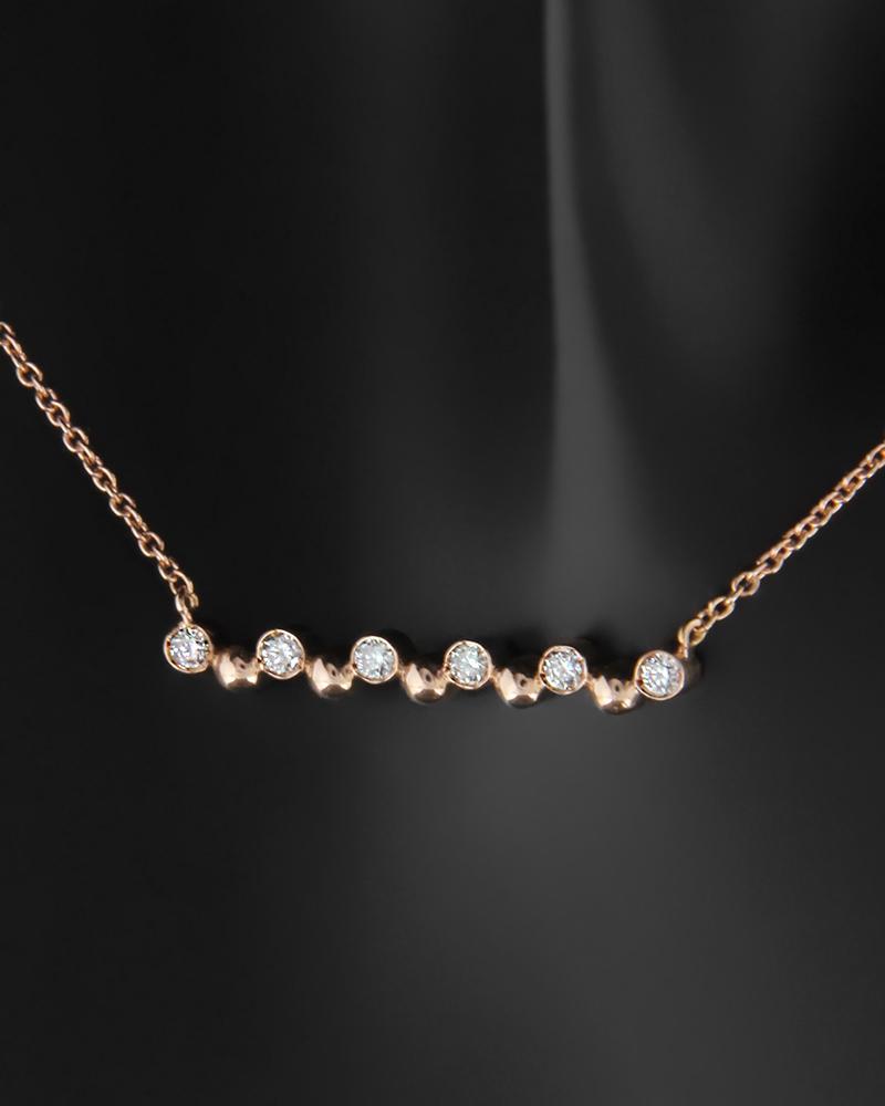 Κολιέ ροζ χρυσό Κ18 με Διαμάντια