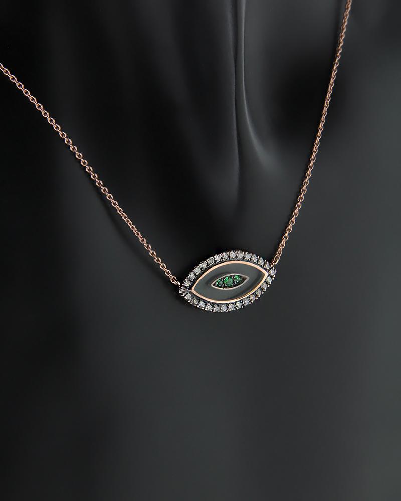 Κολιέ μάτι ροζ χρυσό Κ18 με Διαμάντια και Τσαβορίτη   γυναικα κρεμαστά κολιέ κρεμαστά κολιέ ροζ χρυσό
