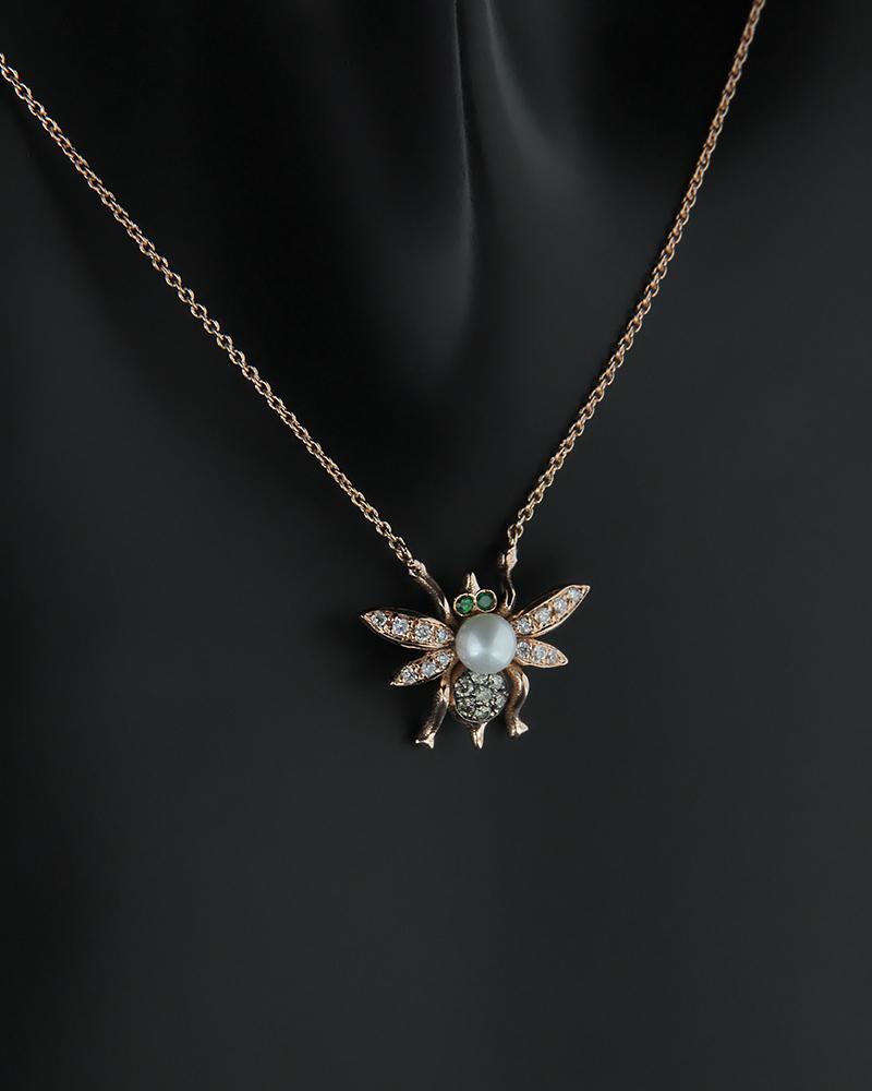 Κολιέ ροζ χρυσό Κ18 με Διαμάντια, Τσαβορίτη και Μαργαριτάρι   γυναικα κρεμαστά κολιέ κρεμαστά κολιέ ροζ χρυσό
