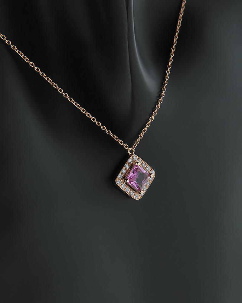 Κολιέ ροζ χρυσό Κ18 με Διαμάντια και ροζ Quartz   γυναικα κρεμαστά κολιέ κρεμαστά κολιέ διαμάντια
