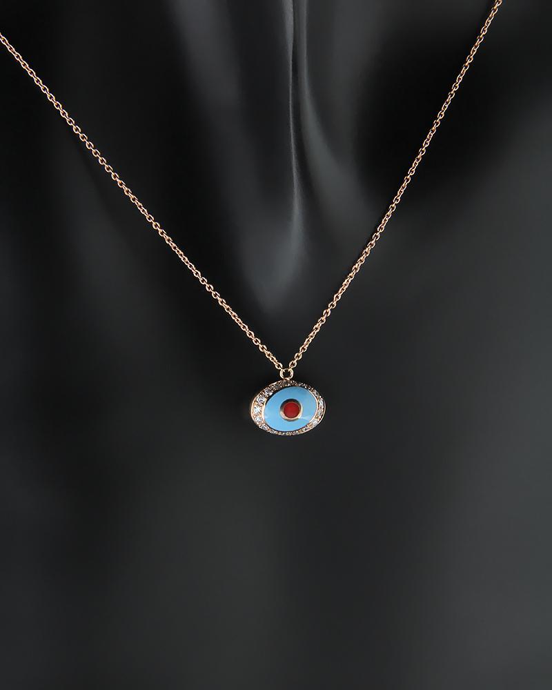 Κολιέ ματάκι ροζ χρυσό Κ18 με Διαμάντια   νεεσ αφιξεισ κοσμήματα γυναικεία