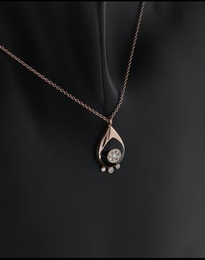 Κολιέ ματάκι ροζ χρυσό Κ18 με Διαμάντια 3e2b854d82e