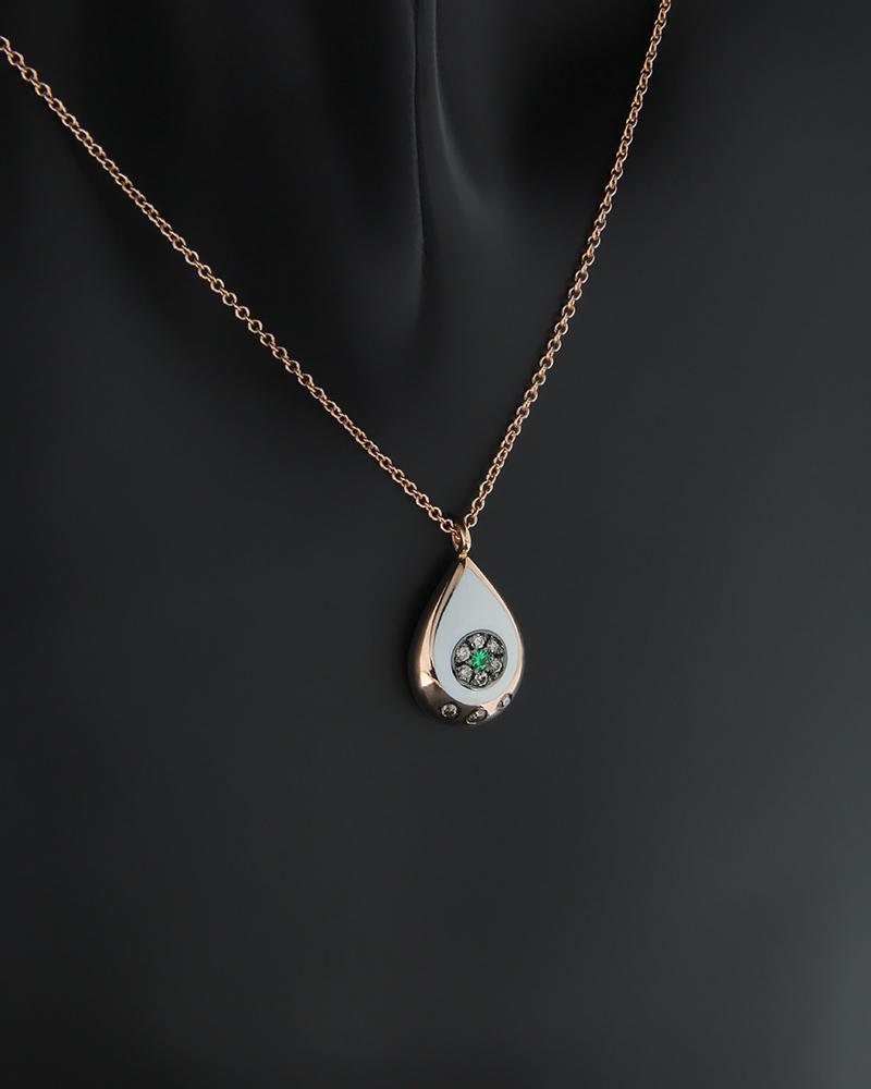 Κολιέ ματάκι ροζ χρυσό Κ18 με Διαμάντια και Τσαβορίτη   κοσμηματα κρεμαστά κολιέ κρεμαστά κολιέ διαμάντια