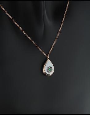 Κολιέ ματάκι ροζ χρυσό Κ18 με Διαμάντια και Τσαβορίτη b5729b7e636