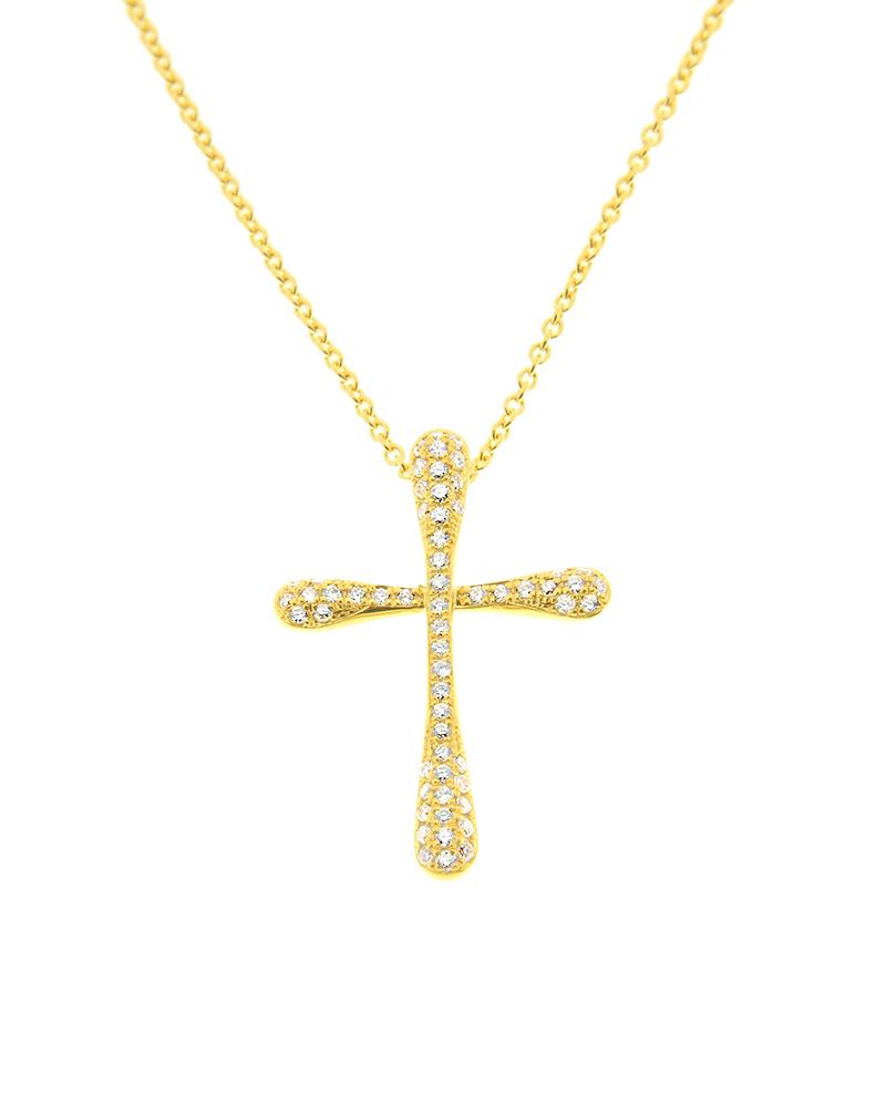 Σταυρός με αλυσίδα χρυσός Κ18 με Διαμάντια