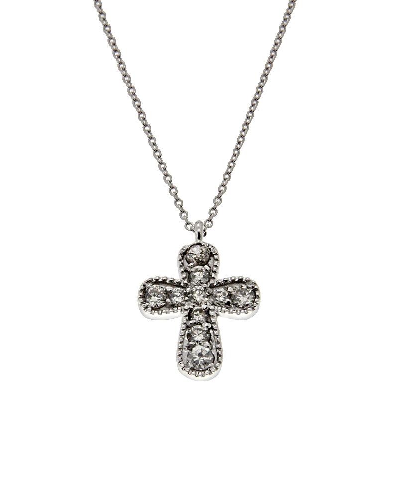 Κολιέ σταυρός λευκόχρυσο Κ14 με Διαμάντια