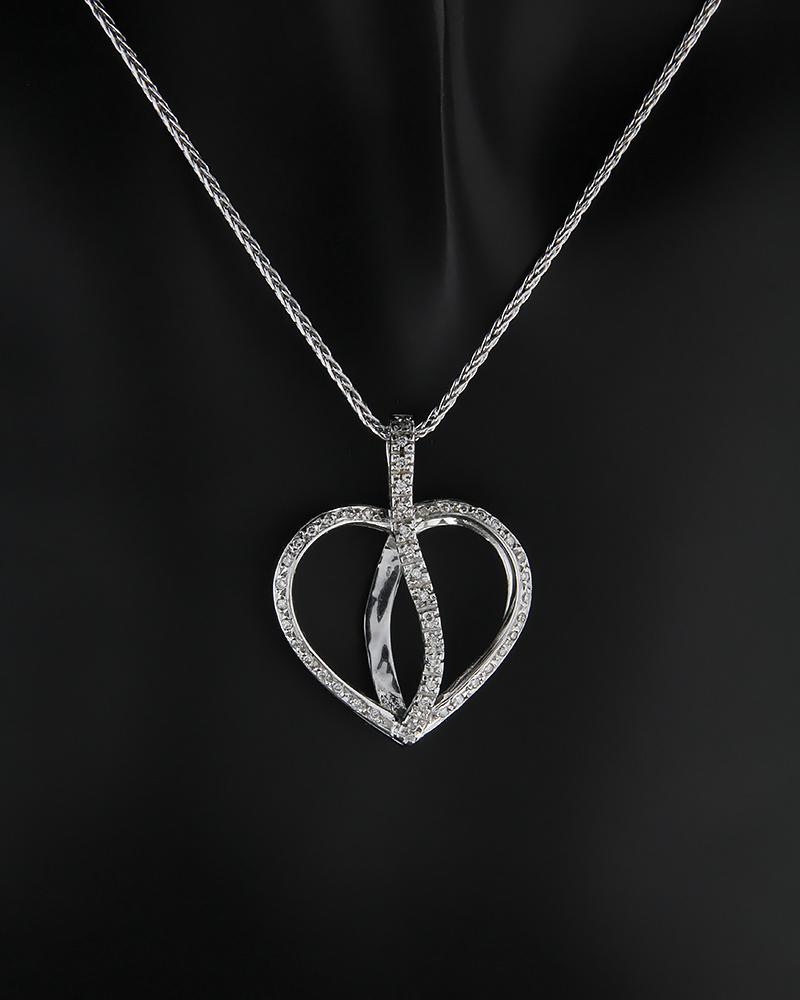 Κρεμαστό καρδιά λευκόχρυσο Κ18 με Διαμάντια   γυναικα κρεμαστά κολιέ κρεμαστά κολιέ λευκόχρυσα