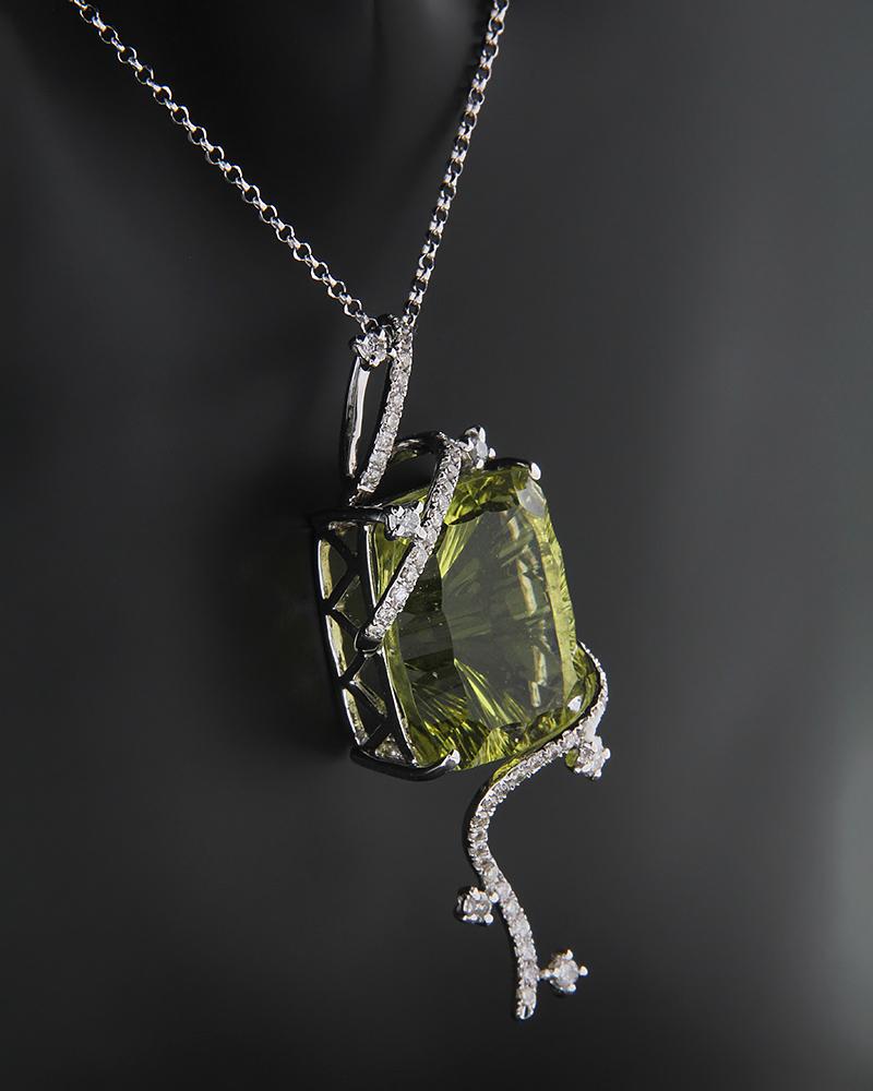 Κρεμαστό λευκόχρυσο Κ18 με Διαμάντια και Περιδοτίτη   νεεσ αφιξεισ κοσμήματα γυναικεία
