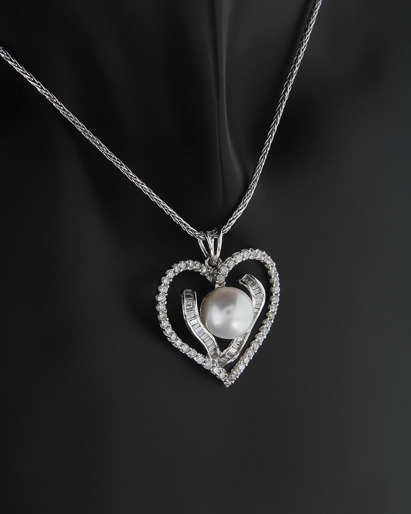 Κρεμαστό καρδιά λευκόχρυσο Κ18 με Διαμάντια και Μαργαριτάρι   νεεσ αφιξεισ κοσμήματα γυναικεία