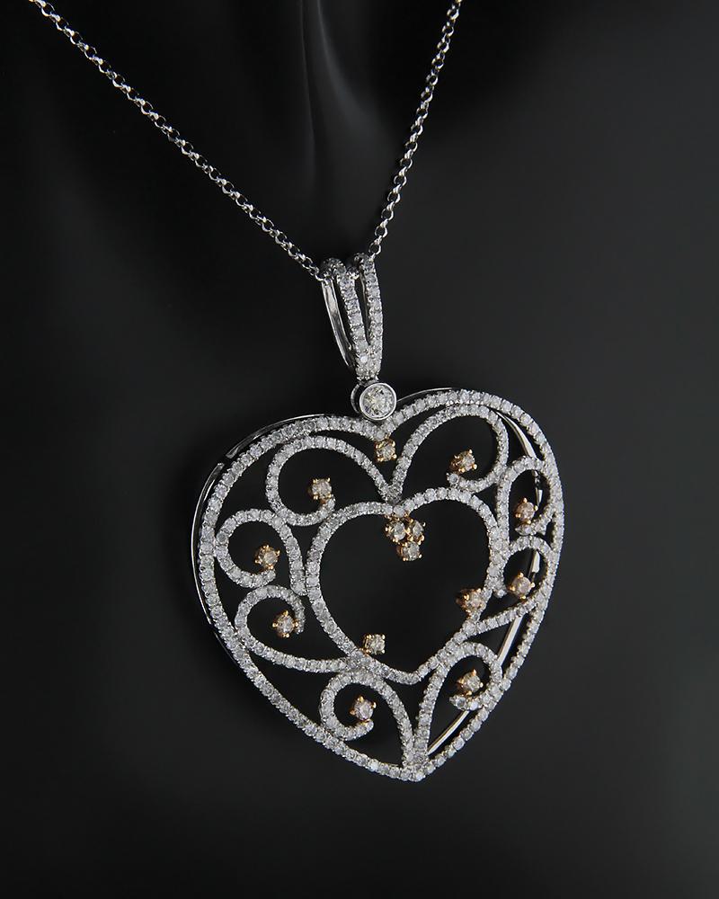 Κρεμαστό καρδιά λευκό και ροζ χρυσό Κ18 με Διαμάντια