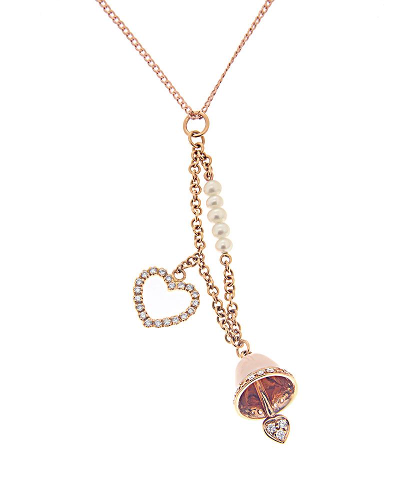 Κρεμαστό ροζ χρυσό Κ18 με Διαμάντια