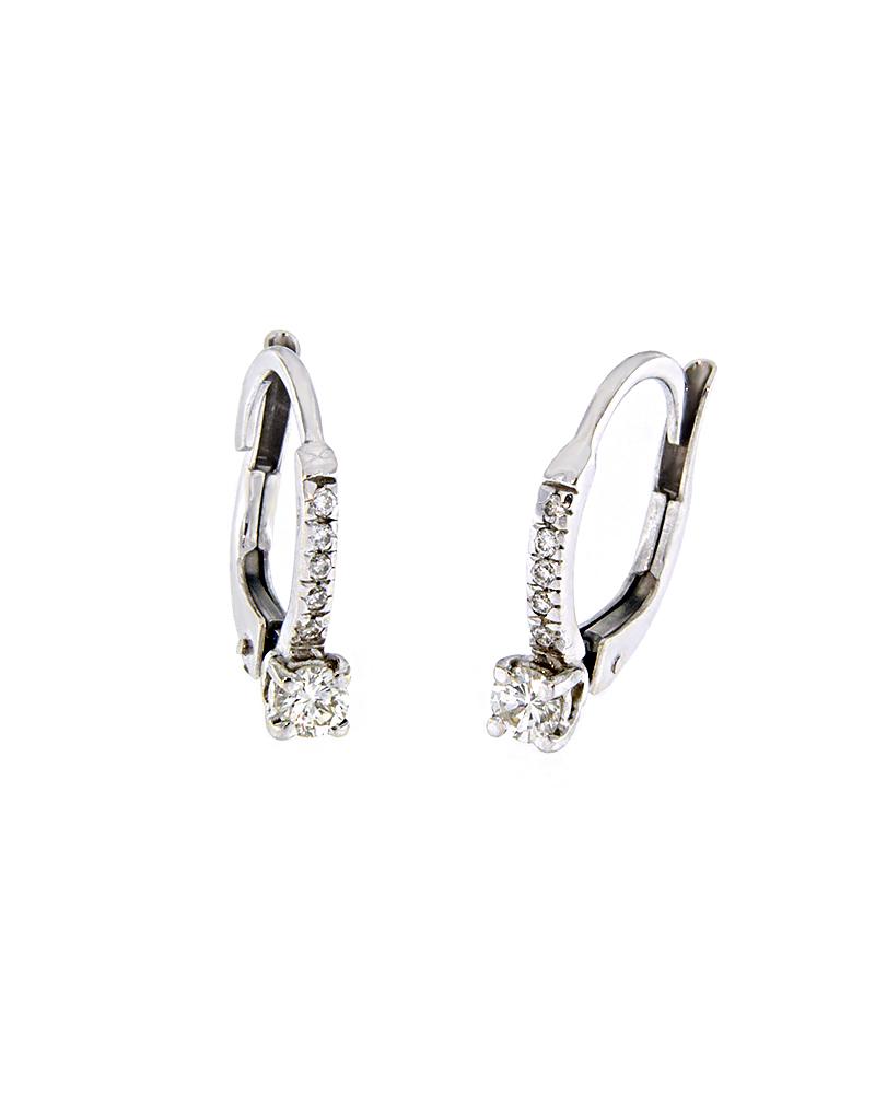 Σκουλαρίκια κρίκοι λευκόχρυσα Κ18 με Διαμάντια