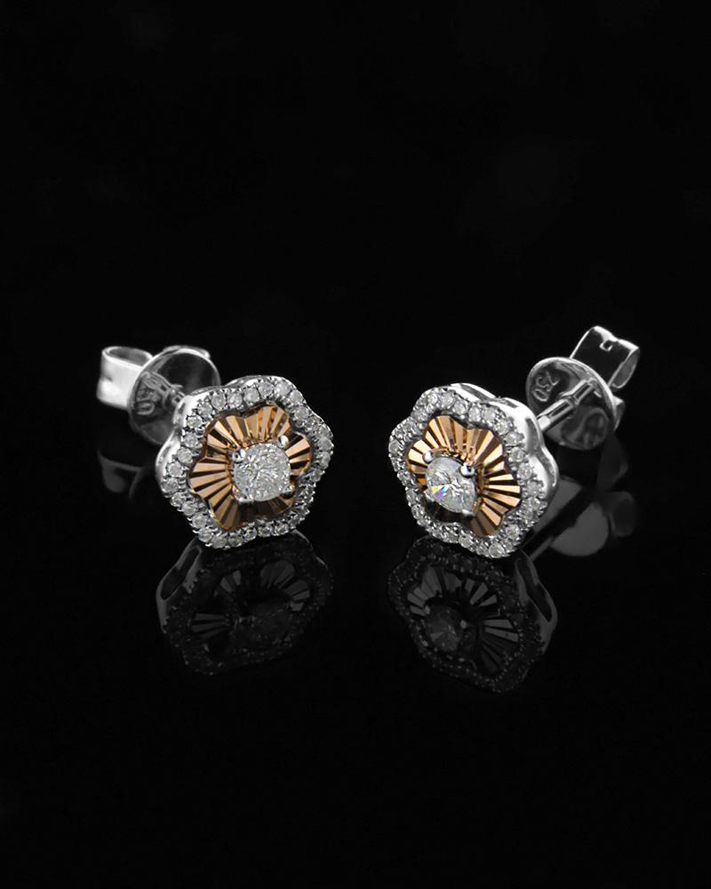 Σκουλαρίκια λευκόχρυσα και ροζ χρυσά Κ18 με Διαμάντια   γυναικα σκουλαρίκια σκουλαρίκια λευκόχρυσα