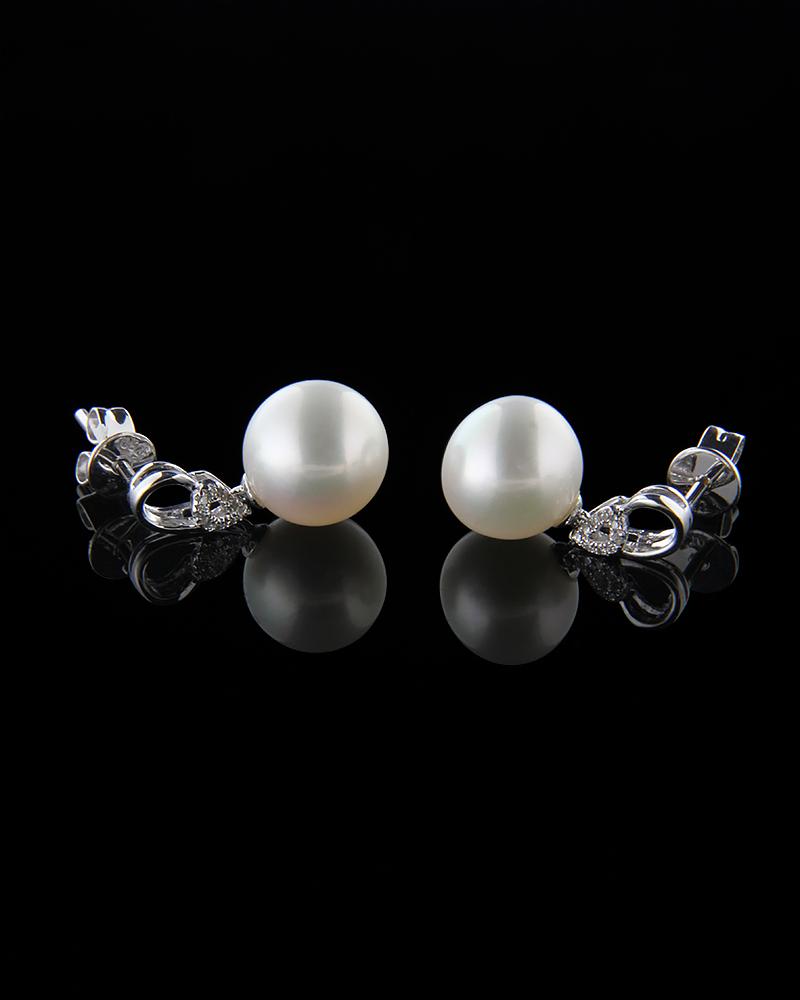 Σκουλαρίκια λευκόχρυσα Κ18 με Διαμάντια και Μαργαριτάρια   γυναικα σκουλαρίκια σκουλαρίκια μαργαριτάρια