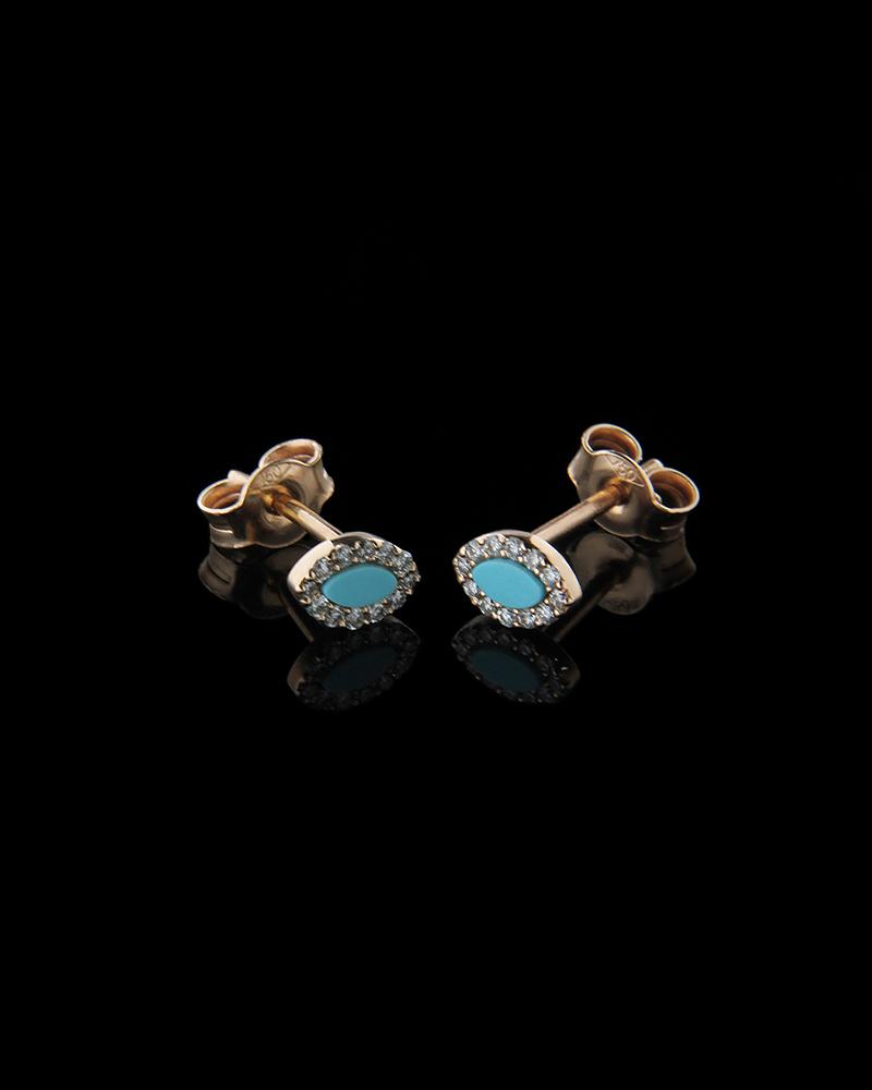 Σκουλαρίκια ροζ χρυσά Κ18 με Διαμάντια   γυναικα κοσμήματα με ματάκι
